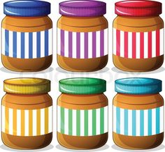 Stock vector of 'Illustration of the six jars of peanut butters on a white background'