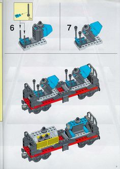 Thousands of complete step-by-step printable older LEGO® instructions for free. Here you can find step by step instructions for most LEGO® sets. Lego Instructions, Step By Step Instructions, Lego Minifigs, Lego Creations, Lego Sets, Legos, Tutorials, Train, Paper