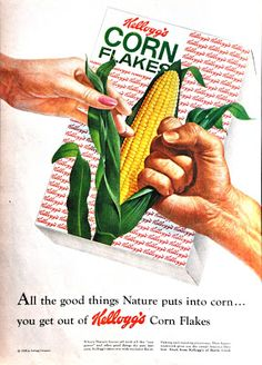 Vintage or retro photography, postcards, ads or other nostalgic finds. Vintage Advertisements, Vintage Ads, Original Corn, Retro Photography, Little Boy Blue, Cartoon Tv Shows, Corn Flakes, 90s Childhood, Cool Words