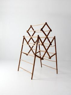 This is an antique free standing drying rack. The collapsible wood rack features a wood frame and slender wood bars. It has a beautiful patina and great character. French Furniture, Antique Furniture, Home Furniture, Antique Chairs, Furniture Projects, Laundry Stand, Laundry Rack, Weight Rack, Clean Garage