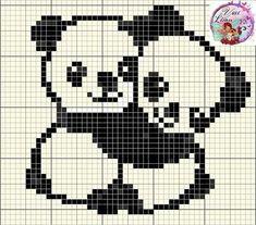broderie - Page 2 Bear panda cross stitch. Pixel Crochet Blanket, Tapestry Crochet, Crochet Chart, Baby Blanket Crochet, C2c Crochet, Crochet Baby, Knitting Charts, Baby Knitting Patterns, Knitting Stitches