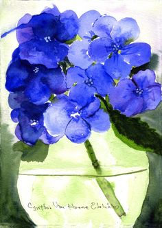 Items similar to Estampe de peinture WC originale bleu Hortensia on Etsy