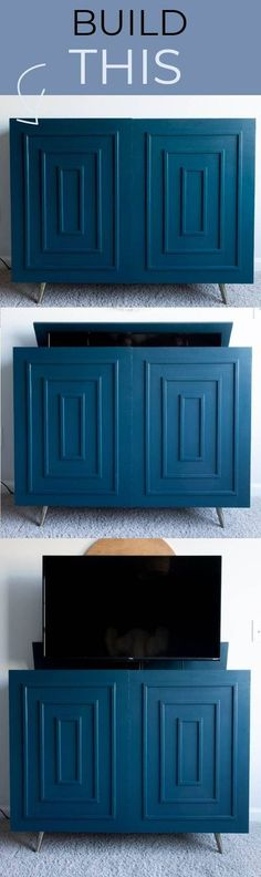 This isn't just your run-of-the-mill media console, this is a beautiful mid-century modern credenza with a hidden TV lift inside. It might seem complicated, but adding the TV lift is only a matter of approximately 12 screws. Make this DIY media console today and impress all your friends with the hidden TV! Paint color: HGSW Blue Midnight Diy Furniture Tutorials, Diy Furniture Plans, Upcycled Furniture, Diy Projects, Project Ideas, Modern Furniture, Diy Tv, Hidden Tv, Diy Nightstand