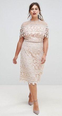 5dd56329e97 Chi Chi London Plus Lace High Neck Pencil Midi Dress at asos.com