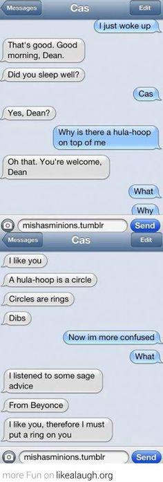 Cas texting Dean
