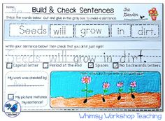 Cross-Curricular Integration - Proper sentence formation, self-editing, peer editing of capitals, periods, proper formations and spacing, and comprehension (Spring themed) $ Whimsy Workshop Teaching