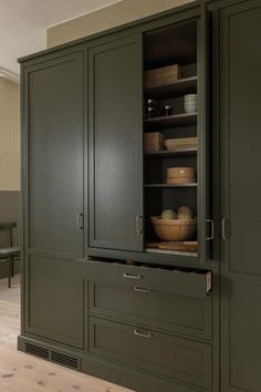 traditional style, deep green, pantry cabinetry layout Pantry Design, Butler Pantry, Urban Chic, Modern Classic, Cupboard, Tall Cabinet Storage, Layout, Shelves, Kitchen