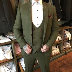 Olive check tweed style suit by Master Debonair
