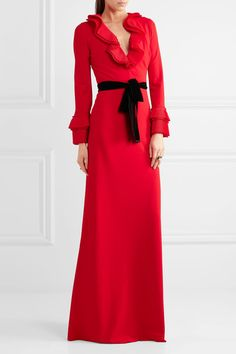 Gucci - Velvet-trimmed Ruffled Stretch-crepe Gown - Red - x small Gucci, Evening Dresses, Formal Dresses, Long Dresses, Red Gowns, Celebs, Celebrities, British Style, Lady In Red