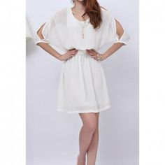 Women's Elastic Waist Off-The-Shoulder Half Sleeve Chiffon Dresses, WHITE, M in Chiffon Dresses   DressLily.com