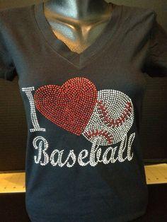 I Heart Baseballl Rhinestone Shirt by flashyexpressions on Etsy, $24.99