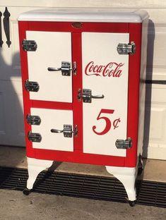 Vintage Ice Box Refrigerator Metal 1930's 3 Door Restored Coca Cola Theme Wow #IceyCold