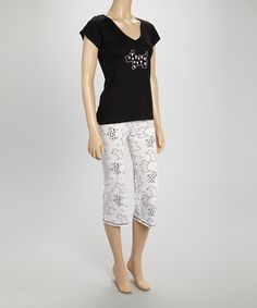 Love this White & Black Puppy Love Top & Capri Pajama Set - Women by Pillow Fight on #zulily! #zulilyfinds