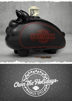 Spare change adds up fast when you have a safe place for your coins. | Harley-Davidson Large Ceramic Hog Bank
