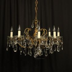 Antiques Atlas - Italian Gilded 8 Light Antique Chandelier Italian Chandelier, Antique Chandelier, Antique Lighting, Chandeliers, Ceiling Rose, Ceiling Lights, Pendants, Brass, Crystals
