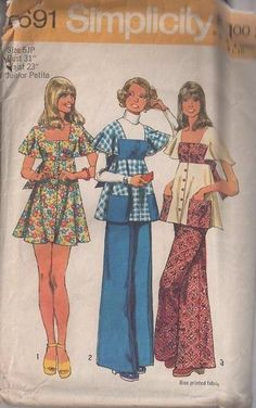 MOMSPatterns Vintage Sewing Patterns - Simplicity 5691 Vintage 70's Sewing Pattern SWEET Boho Square Neck High Empire Waist Contrast Bib Detail Flutter Sleeve Smock Top, Babydoll Mini Dress & Flared Leg Pants