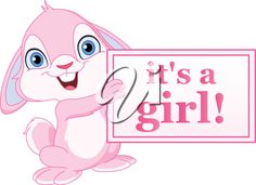 Baby bunny holding it's a girl sign