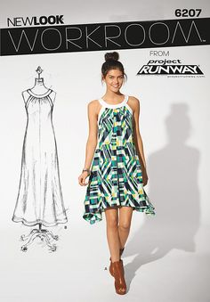 workroom from project runway misses' loose fit dress in two lengths: short view   with curved hemline or long classic hemline, both with back ties for shaping. new look sewing pattern.
