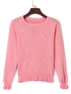 Shop Pink Bead Embellished Ruffle Trim Knit Sweater from choies.com .Free shipping Worldwide.$22.41