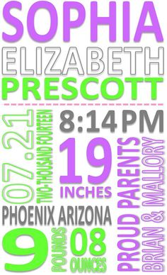 """Personalized New Baby Gift for a Friend, Family Member, Co-Worker, Neighbor or Client! Item is a customized digital file that has the new baby's information displayed in a """"Subway Art"""" format. This file can be sent to you as a .jpg or .pdf file (you choose). You can then use it anyway you like! Print it out and frame it, have it put onto a Canvass, or print it out. Etc.  This is beautiful, modern piece of art that will look great anyplace you choose to display it!"""