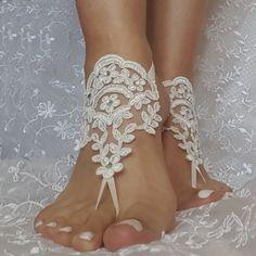 Free ship ivory lace rhinestone  boho beach by GlovesByJana