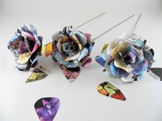 Paper flowers made from Marvel comic books