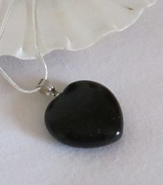 Blue Sandstone Goldstone Heart Pendant 25mm by AwfyBrawJewellery