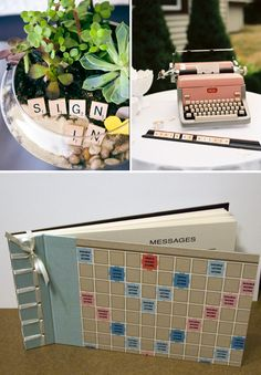 i dig this idea of using a typewriter to record our wedding wishes. :)  Scrabble Wedding Guest Book