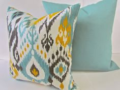 Sale THROW PILLOWS SET of 2 18x18 indoor outdoor Mint Green Yellow ikat Throw Pillow Covers Aqua Turquoise Gray Decorative Throw pillows