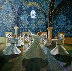 The origin of Sama is credited to Rumi, Sufi master and in whose name the Mevlevi Order was founded Art Pictures, Art Images, Mystical Pictures, Whirling Dervish, Turkish Art, Islamic Art Calligraphy, Persian Calligraphy, Indian Art, Photo Art
