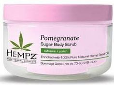 Supre Hempz Sugar Scrub Pomegranate 7.3oz by Supre. $12.54. THC drug-free. Paraben-free, Gluten-free. Leaves skin soft, smooth and supple. Gently cleanses and nurtures skin. top selling sugar scrub. An exfoliating herbal sugar scrub with Hemp seed oil and extract as well as Pomegranate, well known to contain very high levels of antioxidants to prevent free radicals and reduce fine lines and wrinkles. Pomegranate fragrance.
