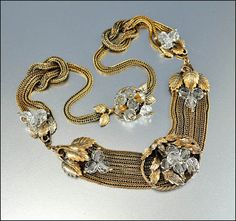 Crystal Bead Snake Chain Gold Necklace Art Deco Jewelry Vintage Jewelry