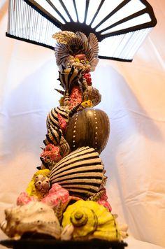 'The spirit of the ocean' Handmade lamp. Shells,wood,fabric,acrylic painting