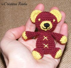 Tiny bear crochet garnet and yellow, small teddy bear toy, amigurumi bear, little bear crocheted, stuffed toy, funny gift, amigurumi doll - pinned by pin4etsy.com