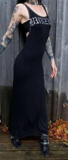 Burzum Studded Hooded Halter Maxi Dress by HellCouture on Etsy