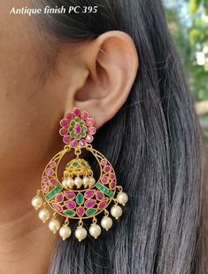 One gram gold ear rings! jumkha designs chand bali ear rings heavy gold ear rings with matt finishing work with rubies emeralds and pearls Ear Rings, Emerald, Drop Earrings, Pearls, Gold, Jewelry, Ear Jewelry, Jewels, Earrings