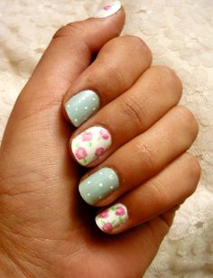 Mix floral and polka dots for a cute summer look #NailArt #Manicure