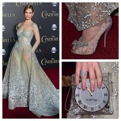 Lily James at Cinderella's World Premiere (US) 03/01/15. Such beautiful accessories♡