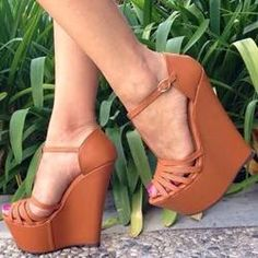 awesome Dramatic Cut-Outs PU Ankle Strap Wedge Sandals Sexy Women's Shoes Ankle Strap Wedges, Wedge Sandals, Wedge Shoes, Shoes Heels, Shoes Uk, Heeled Sandals, Ankle Straps, Strappy Sandals, Cute Shoes