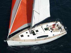 Sailing yacht (Beneteau Oceanis 43) in the Greek seas