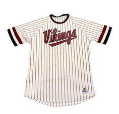 Vintage 1980s Sand-Knit Vikings Striped Baseball Jersey #20 Mens Size Medium $40.00