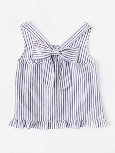 Shop Bow Back Ruffle Trim Striped Pinafore Top online. SheIn offers Bow Back Ruffle Trim Striped Pinafore Top & more to fit your fashionable needs. Casual Fall Outfits, Spring Outfits, Trendy Outfits, Cute Outfits, Girl Fashion, Fashion Outfits, Blouse Designs, Blouses For Women, Korean Fashion