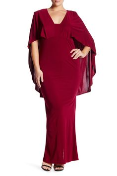 Popover Cape Gown (Plus Size) by ABS by Allen Schwartz on @nordstrom_rack
