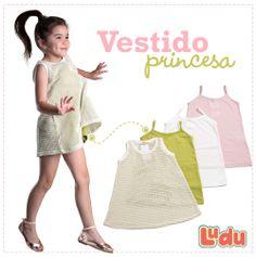Loja Ludu, coleção 2014, vestido com underwear colorido Princesa. Moda para meninas. #moda #menina #fashion #kids #girls #vestido #dress  Compre pelo site: www.ludu.com.br