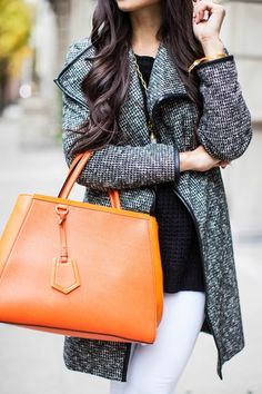 Orange handbag gray coat white pants leggings black sweater autumn casual s Womens Fashion Casual Summer, Womens Fashion For Work, Pull Grosse Maille, Tweed, Orange Handbag, Orange Bag, Pantalon Slim, Corte Y Color, Mein Style