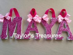 Taylors Treasures  - Hanging Wall Letter - Custom Glitter Nursery Letters - Boutique Wall Letters - Can Do Whole Name - Any Patterns/Colors on Etsy, $8.49