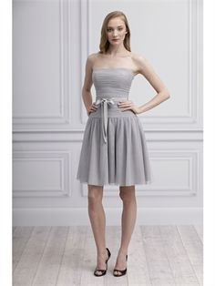 2014 Silver Short Strapless Pleat Tulle Bridesmaid Dresses