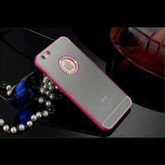 Pink iPhone 6 Plus mirror case & glass screen prot All colors available for iPhone 6 and iPhone 6 Plus colors11 available pink gold silver blue black also glass screen protector available for extra $3 check my closet .  If u don't find ur color please contact me to creat ur listing. Thank you please follow me for new items added daily. Accessories Phone Cases