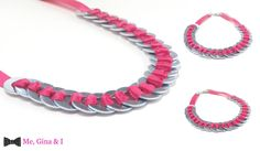 Inox washer necklace with pink satin ribbon.