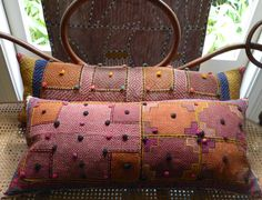 Hand embroidered with perky bobbles….bolsters from Gujarat